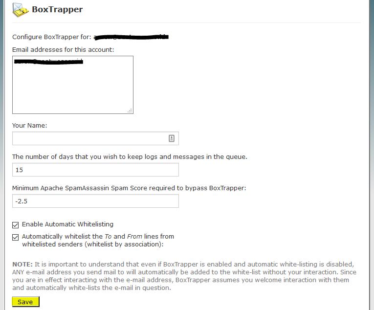 Box Trapper Configure