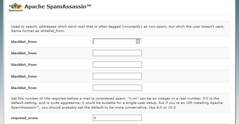 Apache SpamAssassin Blacklist