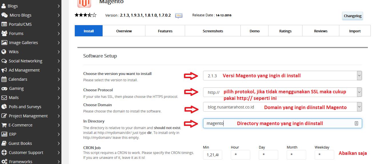 Cara Install CMS Magento melalui Softaculous