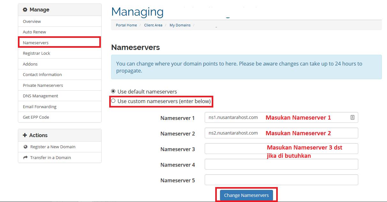 Cara merubah nameserver pada domain
