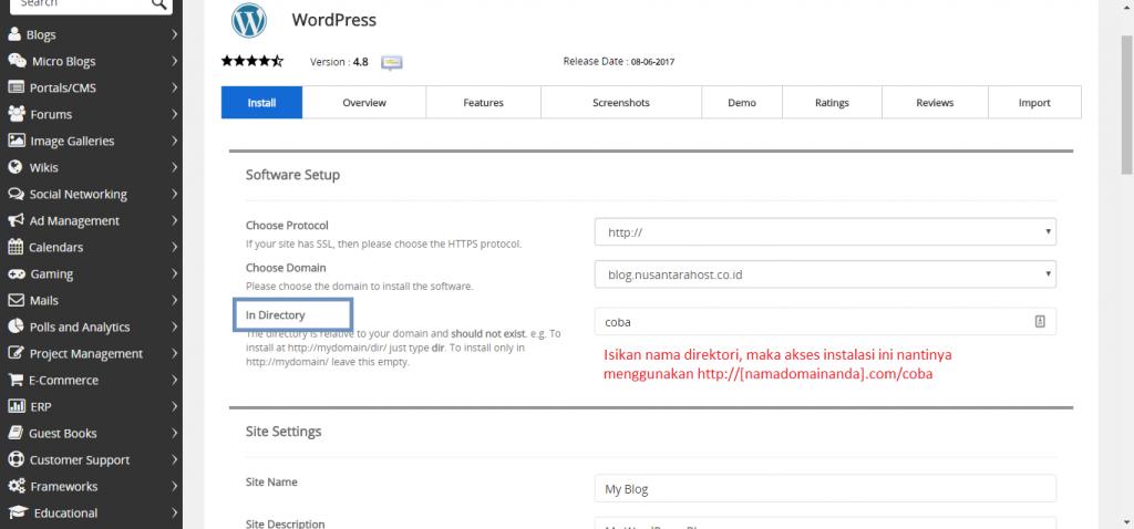Instalasi WordPress Lebih Mudah Menggunakan Softaculous