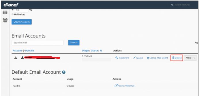 Cara Menghapus email account melalui cpanel