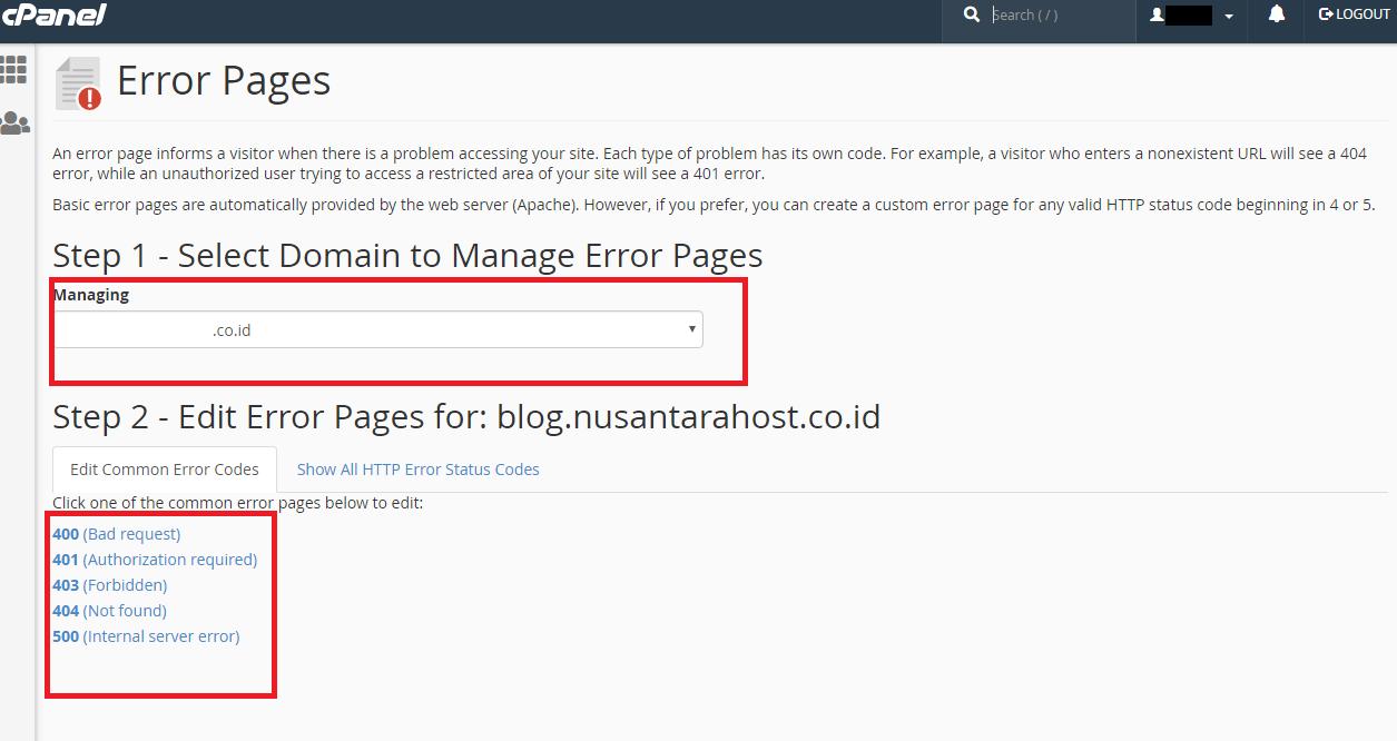 Membuat Error Page Melalui Cpanel