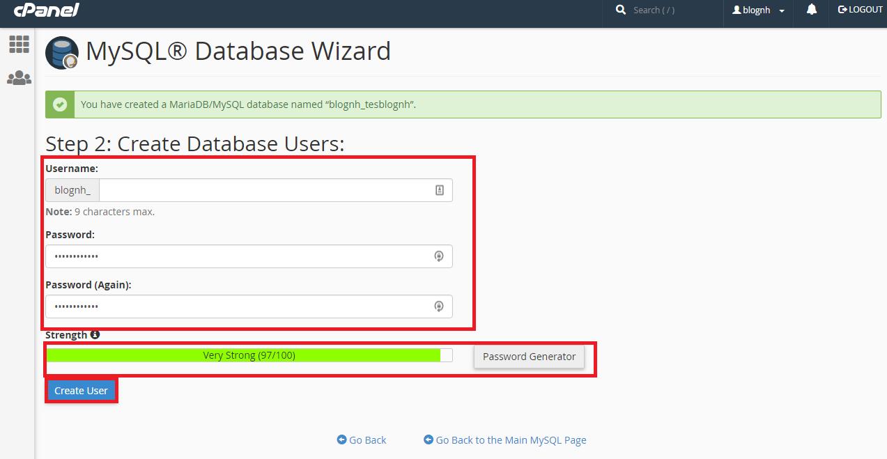 Konfigurasi MySQL Database Melalui Cpanel